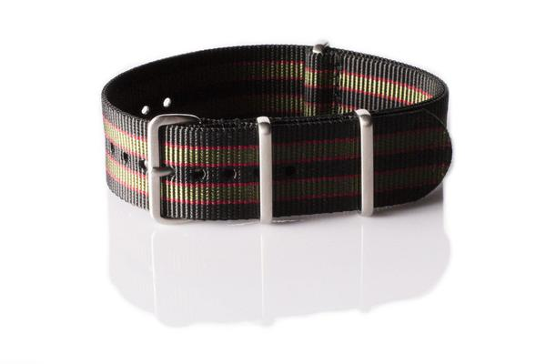 Brushed Premium NATO strap Black, Red and Green