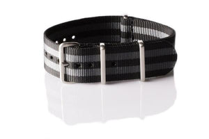 "Brushed Premium NATO strap Black and Gray ""James Bond"""