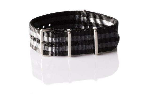 Brushed Premium NATO strap Black and Gray