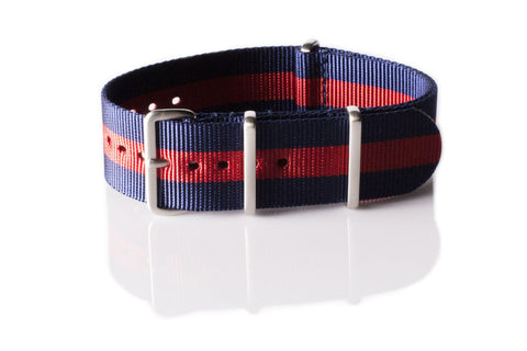 Brushed Premium NATO strap Navy and Red - Cheapest NATO Straps  - 1
