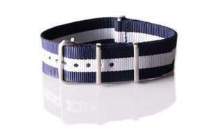 Brushed Premium NATO strap Navy and White