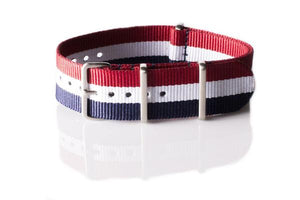 Brushed Premium NATO strap Red, White and Navy