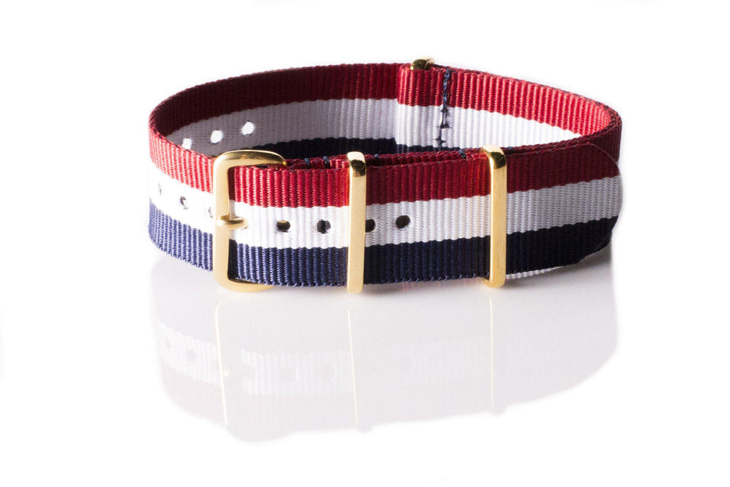 Gold premium NATO Strap Red, White and Navy - Cheapest NATO Straps  - 1