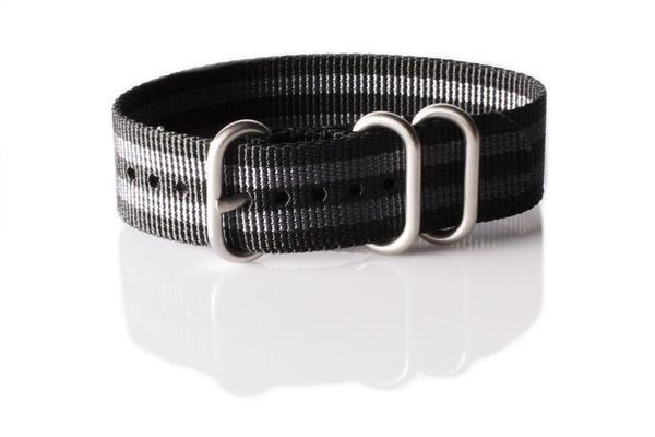 Zulu strap 3-ring Black and Gray James Bond