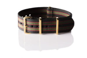"Gold premium NATO Strap Black, Red and Green ""James Bond"""