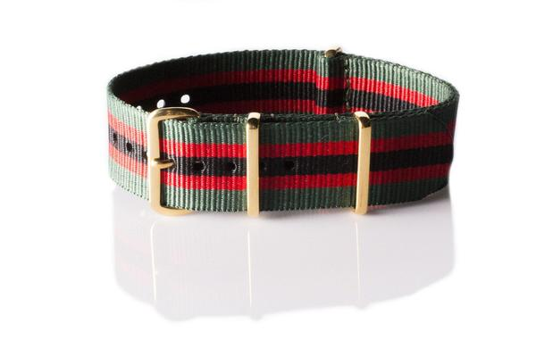 Gold premium NATO Strap Green, Red and Black