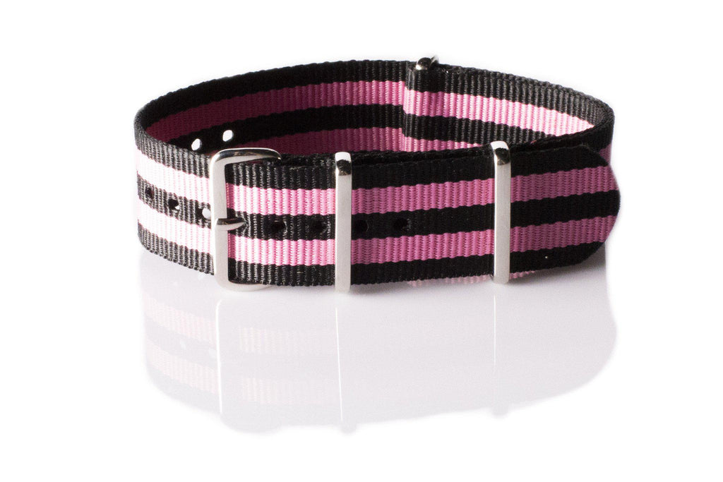 NATO Regimental Strap Black and Pink - Cheapest NATO Straps  - 1
