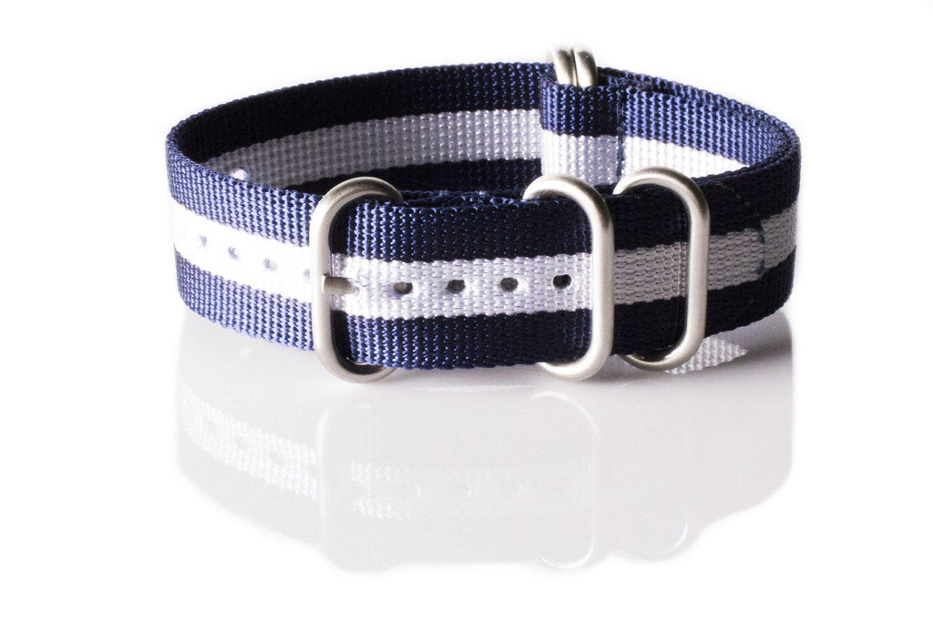 Zulu strap SS 5-ring Navy and White - Cheapest NATO Straps  - 1