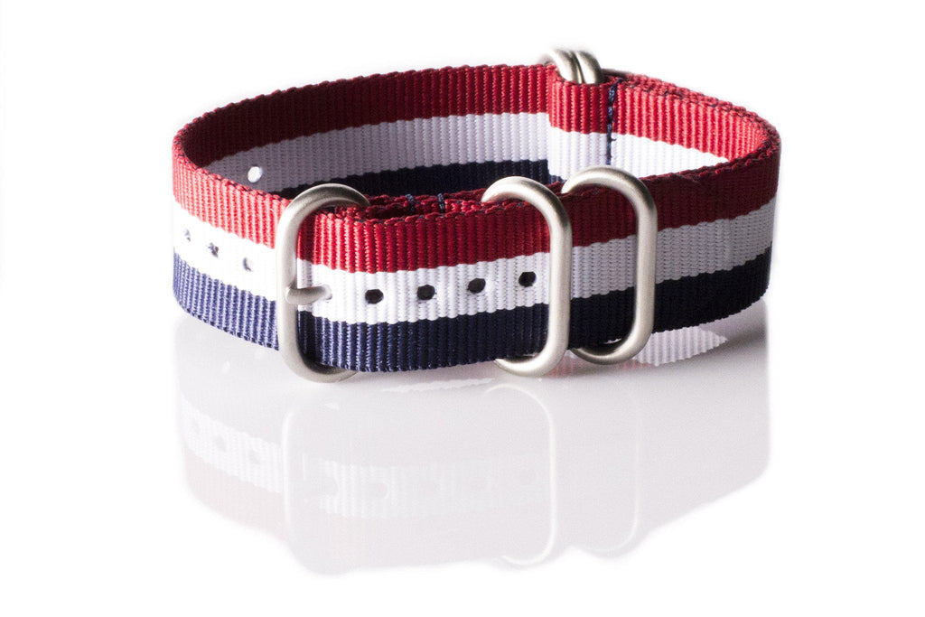 Zulu strap SS 5-ring Red, White and Navy - Cheapest NATO Straps  - 1