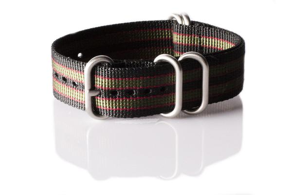"Zulu strap 5-ring Black, Red and Green ""James Bond"""