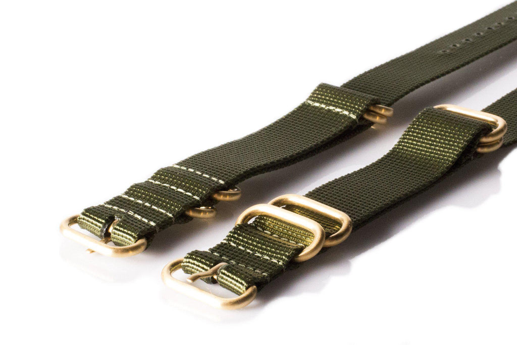 Gold Zulu strap 5-ring Khaki Green - Cheapest NATO Straps  - 2