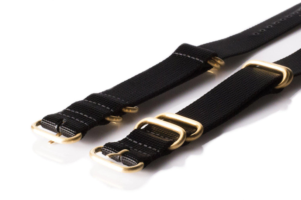 Gold Zulu strap 5-ring Black - Cheapest NATO Straps  - 2
