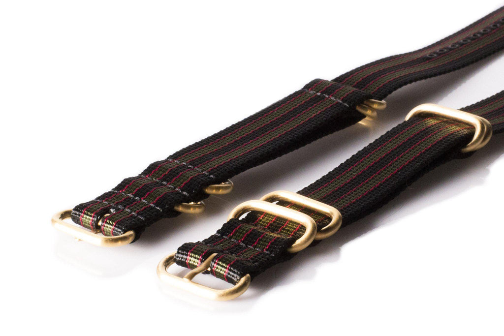 "Gold Zulu strap 5-ring Black, Red and Green ""James Bond"" - Cheapest NATO Straps  - 2"