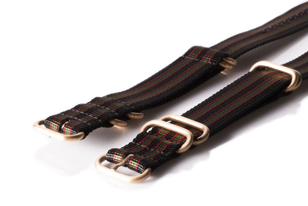 "Rose Gold Zulu strap 5-ring Black, Red and Green ""James Bond"" - Cheapest NATO Straps  - 1"