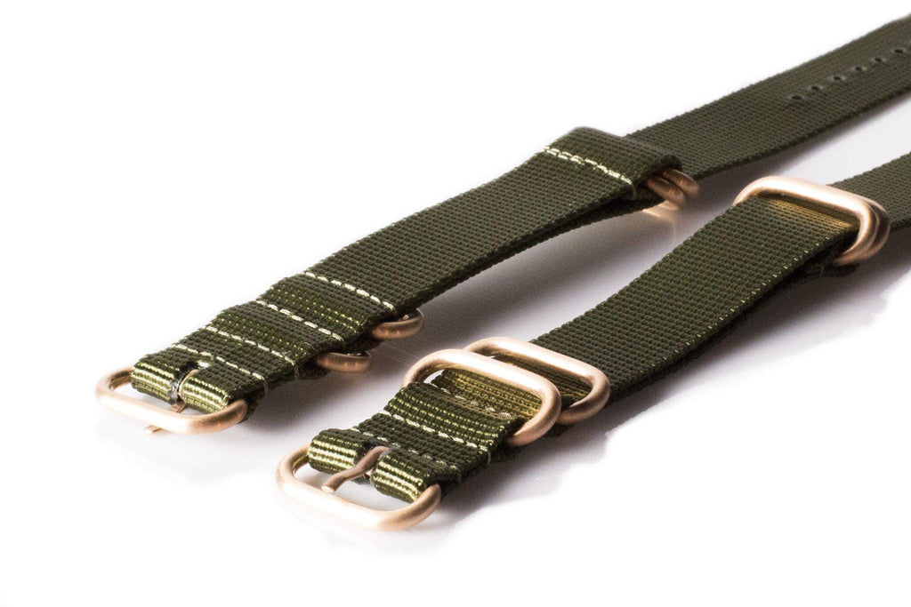 Rose Gold Zulu strap 5-ring Khaki Green - Cheapest NATO Straps  - 2