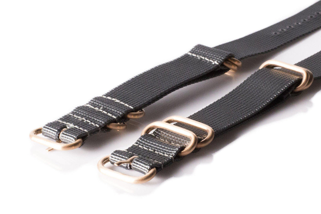Rose Gold Zulu strap 5-ring Gray - Cheapest NATO Straps  - 2