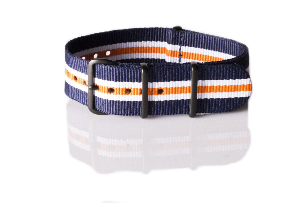 PVD premium NATO Strap Navy, White and Orange - Cheapest NATO Straps  - 1