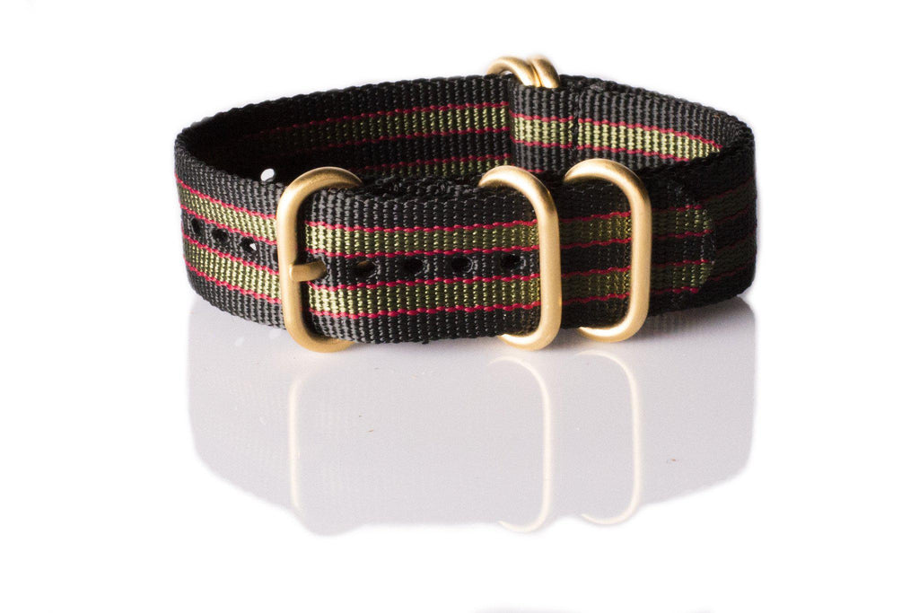 "Gold Zulu strap 5-ring Black, Red and Green ""James Bond"" - Cheapest NATO Straps  - 1"