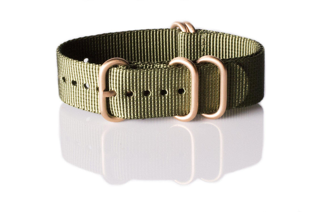Rose Gold Zulu strap 5-ring Khaki Green - Cheapest NATO Straps  - 1