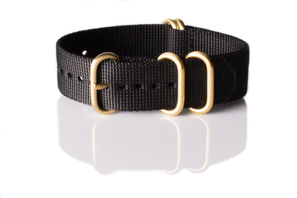 Gold Zulu strap 5-ring Black - Cheapest NATO Straps  - 1