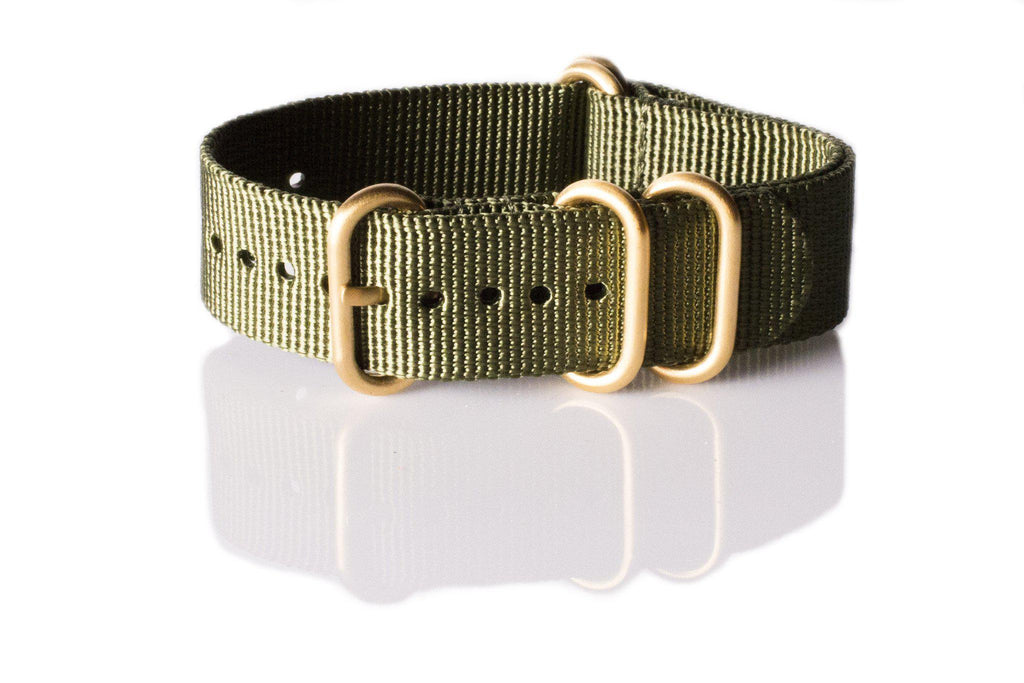 Gold Zulu strap 5-ring Khaki Green - Cheapest NATO Straps  - 1