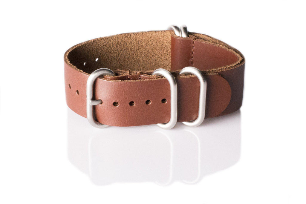 Leather SS Zulu Strap Copper Red - Cheapest NATO Straps  - 1