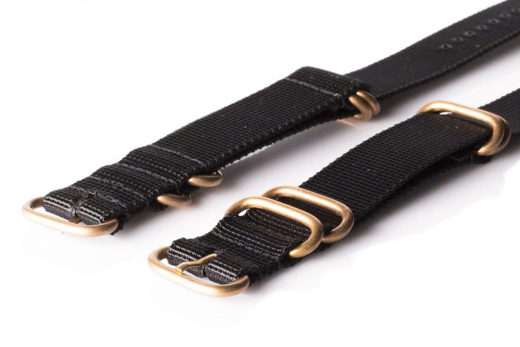 Bronze Zulu strap 5-ring Black - Cheapest NATO Straps  - 2