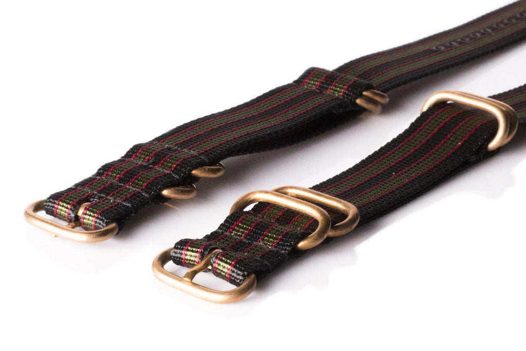 "Bronze Zulu strap 5-ring Black, Red and Green ""James Bond"" - Cheapest NATO Straps  - 2"