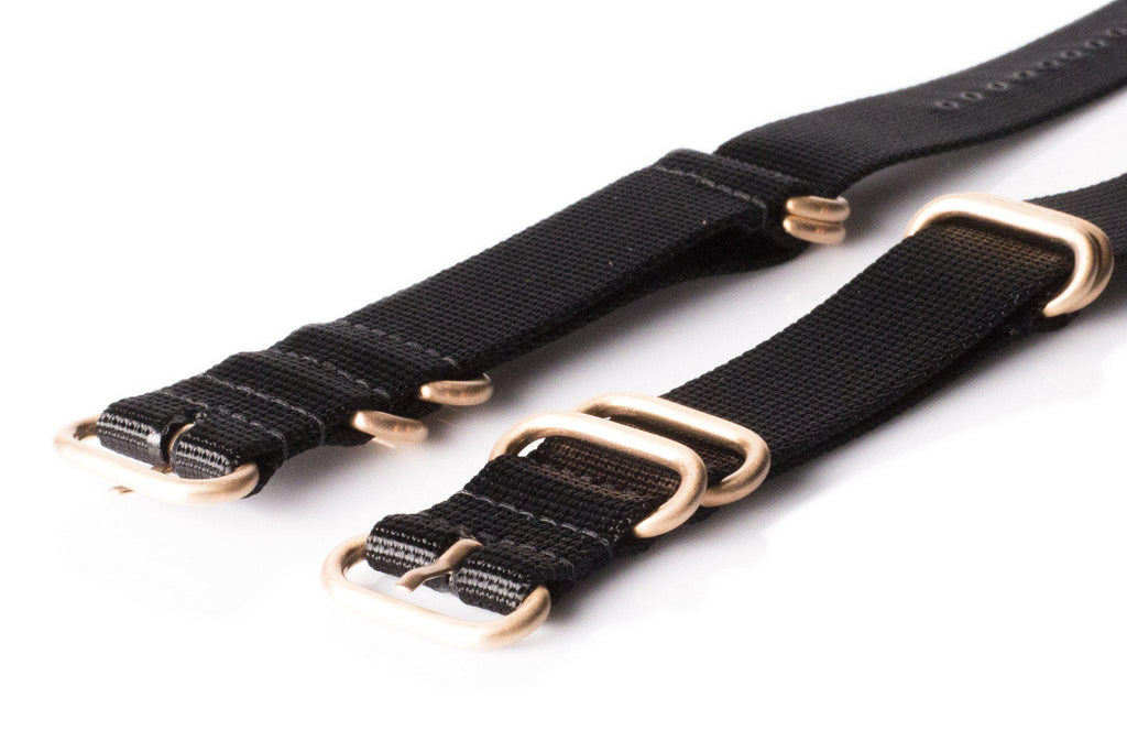 Rose Gold Zulu strap 5-ring Black - Cheapest NATO Straps  - 1