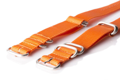 Extra Long Zulu strap SS 5-ring Orange - Cheapest NATO Straps  - 1