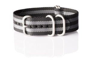 "Zulu strap 5-ring Black and Gray ""James Bond"""