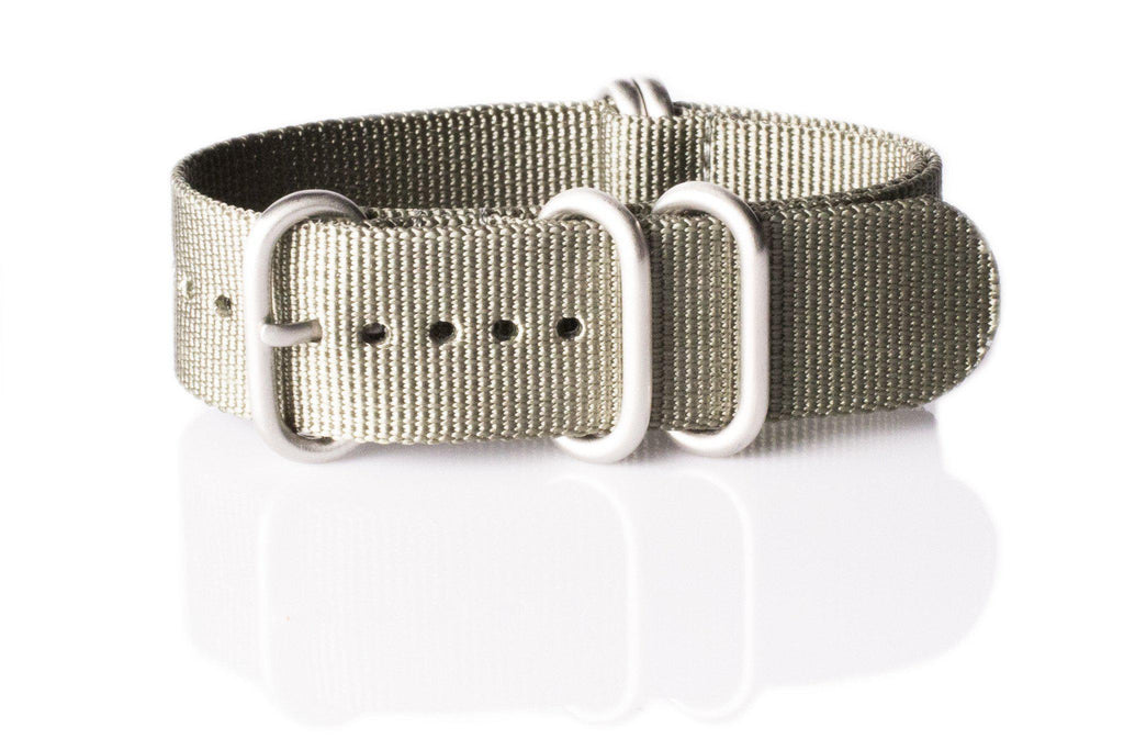 Zulu strap SS 5-ring Silver Green - Cheapest NATO Straps  - 1