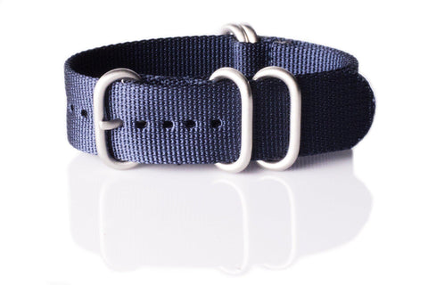Extra Long Zulu strap SS 5-ring Navy - Cheapest NATO Straps  - 1