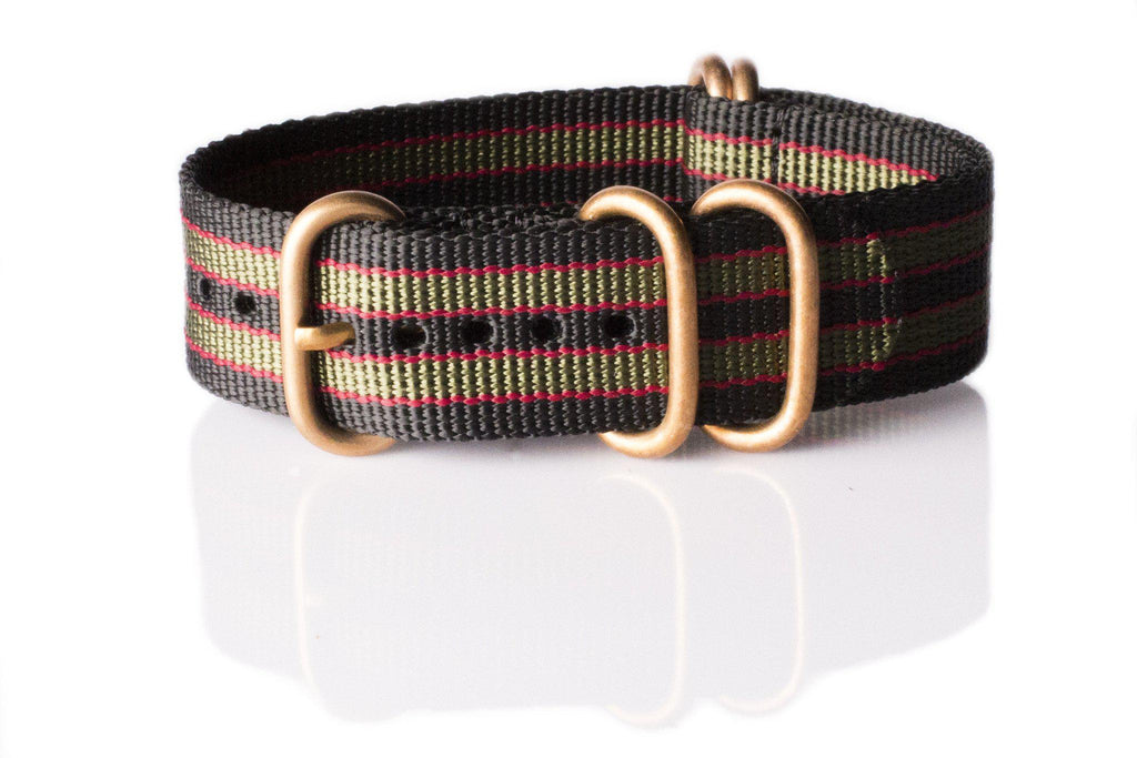 "Bronze Zulu strap 5-ring Black, Red and Green ""James Bond"" - Cheapest NATO Straps  - 1"