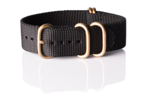Zulu strap SS 5-ring Black