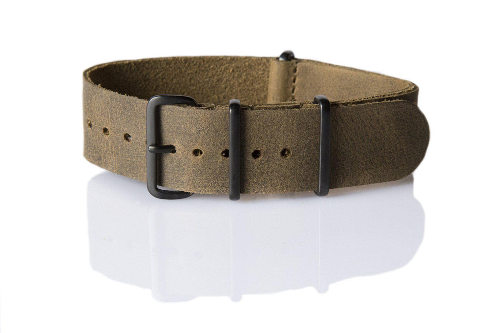 PVD Leather NATO Strap Vintage Army - Cheapest NATO Straps  - 1
