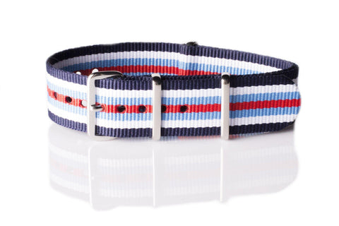 NATO Regimental Strap Navy, White, Blue and Red - Cheapest NATO Straps  - 1