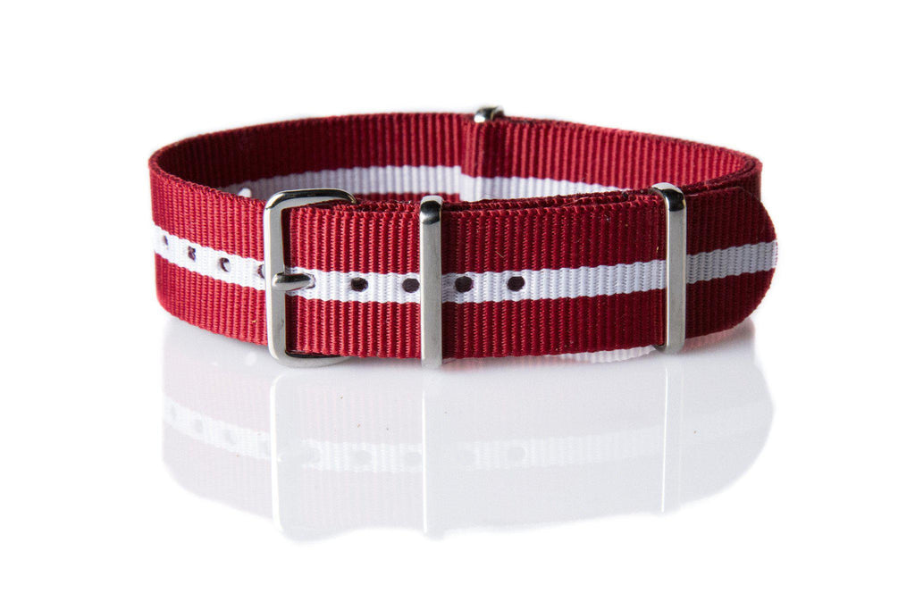 NATO Regimental Strap Red with one thin white stripe - Cheapest NATO Straps  - 1
