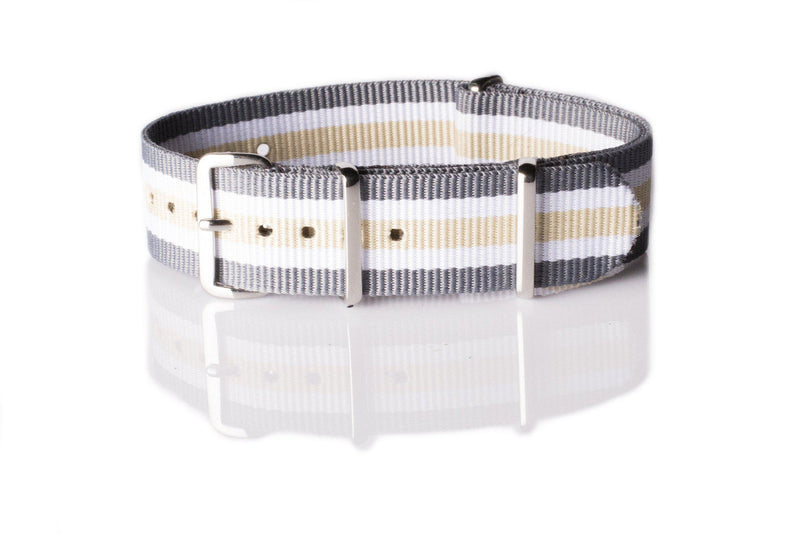 NATO Regimental Strap Gray, White and Beige - Cheapest NATO Straps  - 1