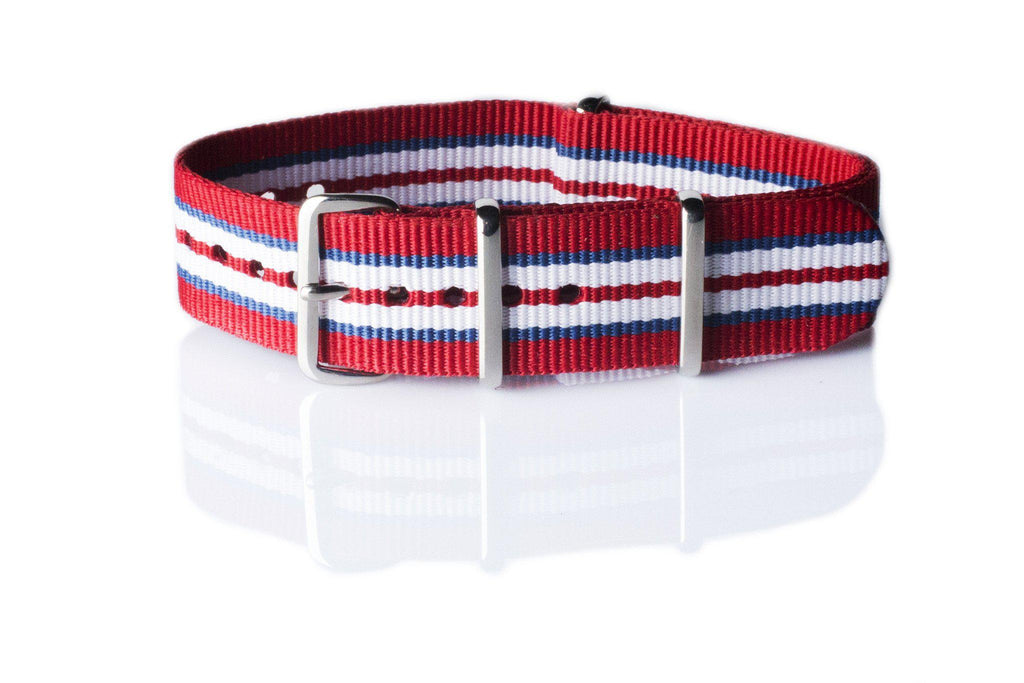 NATO Regimental Strap Norway, Red, Blue and White - Cheapest NATO Straps  - 1