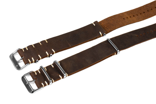 Kvarnsjö Vintage Leather NATO Rustic Brown (18 & 24 mm)