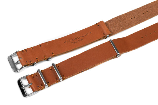 Kvarnsjö Vintage Leather NATO Oak with Brown stitching