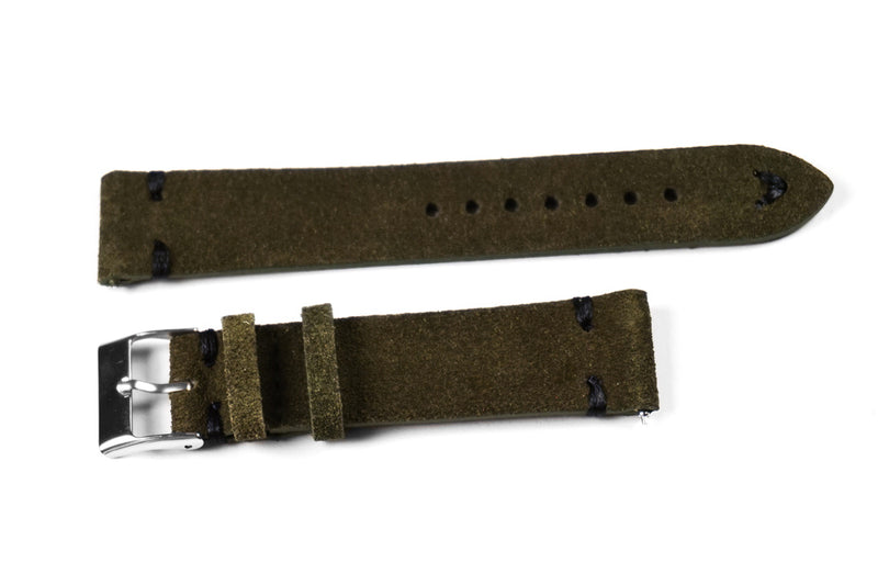 Kvarnsjö Suede Vintage Moss Green with black stitching
