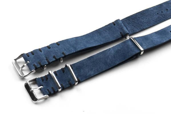 Kvarnsjö Vintage Suede NATO Navy with black stitching