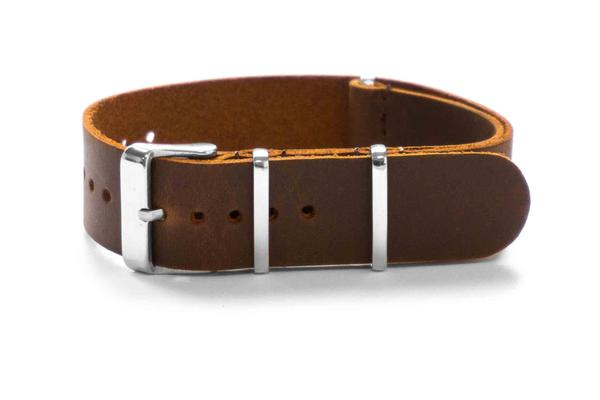 Leather NATO Strap Mid Brown