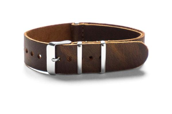 Leather NATO Strap Chocolate Brown