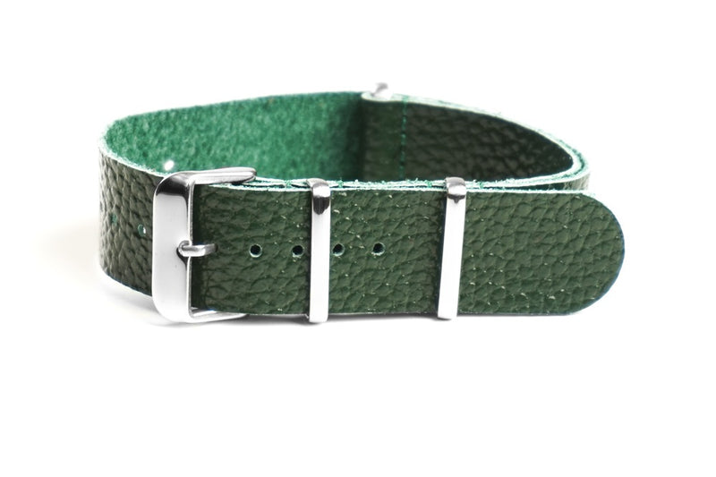Leather NATO Strap Dark Green