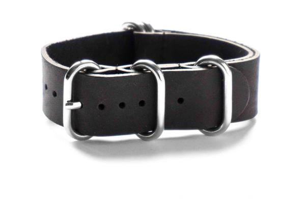 Leather Zulu Strap Black
