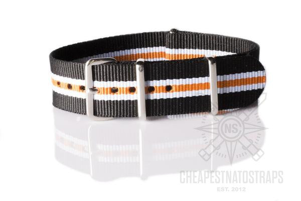 NATO Strap Racing, Black, White and Orange (20 mm)