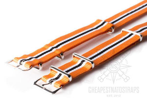 NATO Strap Racing, Orange, White and Black (20 mm)